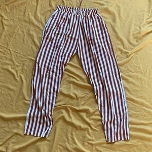 brown and white stripe pants